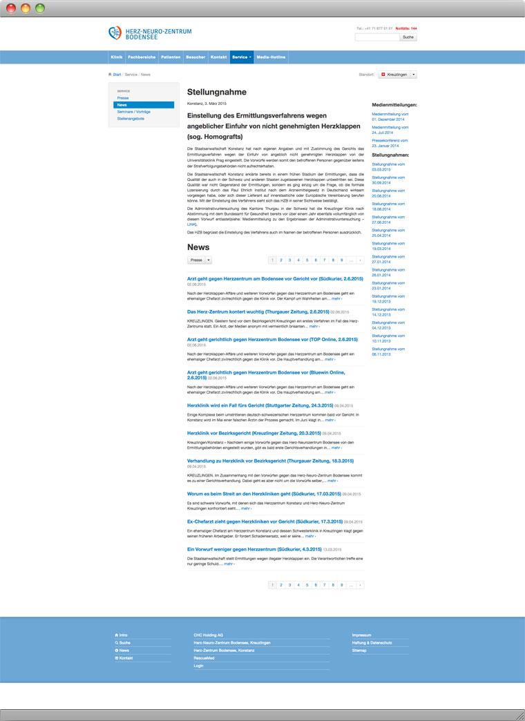 Screenshot der Unterseite News auf der Website des Herz Neuro Zentrums Bodensee