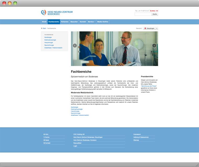 Screenshot der Unterseite Fachbereiche auf der Website des Herz Neuro Zentrums Bodensee