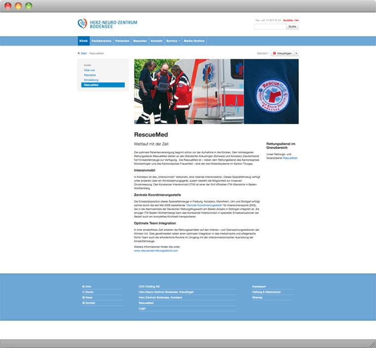 Screenshot der Unterseite Rescue Med auf der Website des Herz Neuro Zentrums Bodensee