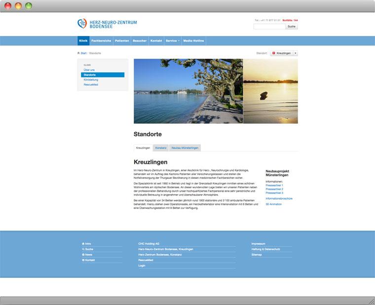Screenshot der Unterseite Standorte auf der Website des Herz Neuro Zentrums Bodensee