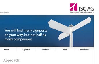 Screenshot ISC AG Website Header und Hauptnavigation