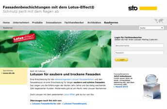 Screenshot Startseite Lotusan Microsite Sto AG