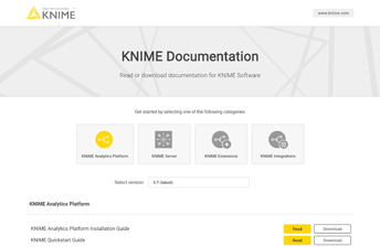KNIME Documentation Website: Startpage