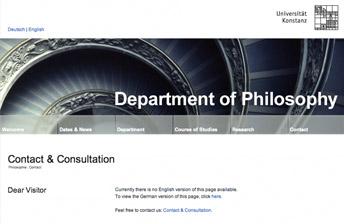 Screenshot Fachbereich Philosophie