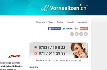 Screenshot Startseite Vornesitzen.ch