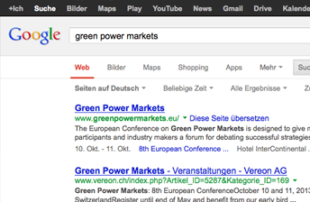 Screenshot zeigt Google Suche mit Rich Snippets Anzeige