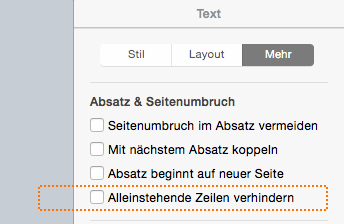 Einstellungsmenü in Pages